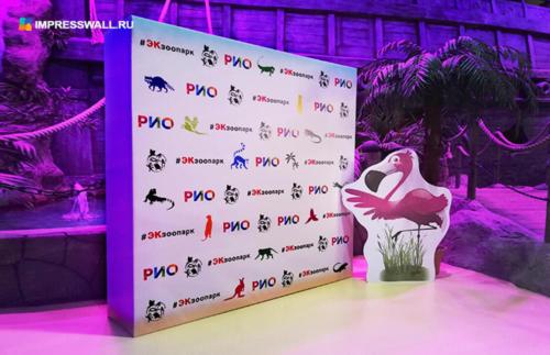 Объёмный прессвол из бруса размер 2х2 метра и ростовая фигура в виде фламинго